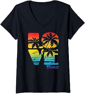 Womens Hana, Hawaii Tropical Love product V-Neck T-Shirt