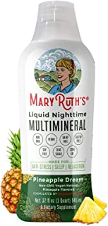 Liquid Sleep Multimineral w/ Magnesium & Calcium Citrate by MaryRuth's - Pineapple - Vegan Vitamins, Antioxidants, Mineral...
