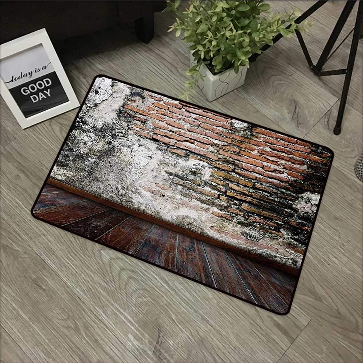Learning pad W31 x L47 INCH Rustic,Worn Looking Wall Photograph with Wooden Floors Ancient Building Structure,Cinnamon Black White Non-Slip Door Mat Carpet