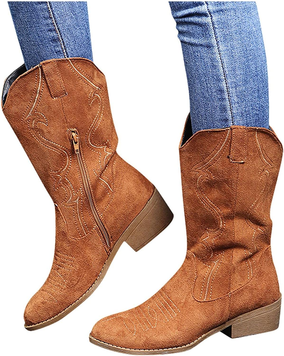 Cowboy Boots for Women Vintage Embroidery Round Toe Ankle Booties Mid Calf Motorcycle Boots Cowgirl Western Boots