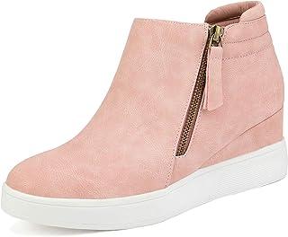 Dream Pairs Mujer Botines de Tacón Bajo Cuña Plataforma Moda Otoño Invierno Comodos Cremallera Zapatos