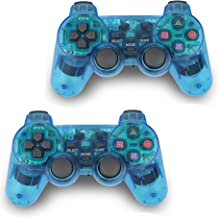 2pcs Pack Wireless Game Controller Double Vibration Gamepad for Sony PS2 Playstation 2 (Blue-Blue)