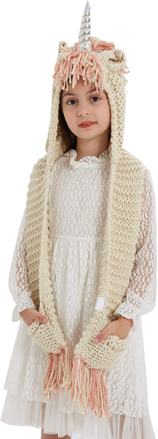 Famvos Adult Unicorn Max 60% OFF Max 50% OFF Hat Crochet Girl Cape Scarf