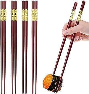 GLAMFIELDS 5 Pairs Premium Fiberglass Chopsticks - Classic Style Reusable Chopsticks Gift Set, Dishwasher Safe, 9.5 Inches Dragon Pattern