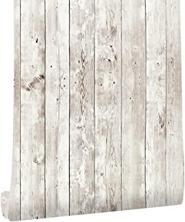 Vinyl Wood Plank Self Adhesive Wallpaper - Peel and Stick Wallpaper Wood Vintage for Bedroom Home Walls Decoration 45cm x ...
