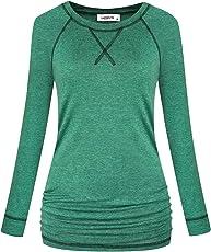 MOQIVGI Womens Raglan Sleeve Workout Gym Yoga Running Shirts Fashion Casual Ruched Tops
