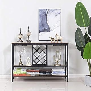 Symylife Mesa portabotellas de madera mesa consola mueble bar de vinos mesa consola de 2 niveles mesa de entrada de mad...