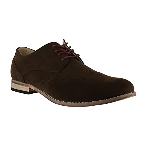 Classics Mens Faux Suede Smart Formal Casual Lace Up Brogues Shoes