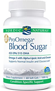 Nordic Naturals ProOmega Blood Sugar, Lemon - 60 Soft Gels - 896 mg Omega-3 + Alpha-Lipoic Acid & Chromium - Normal Insuli...