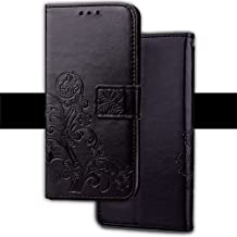 YHUISEN [Emboss Lucky Flower Four-Leaf Clover] PU Leather Wallet Case [Stand/Card Slot] With Lanyard Strap Flip Case Cover For OPPO F1S A59 (Color : Black)