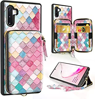 ZVE Wallet Case for Samsung Galaxy Note 10 Samsung Note10 Case with Credit Card Holder Zipper Wallet Case Handbag Purse Wrist Strap Case Cover for Samsung Galaxy Note 10(2019), 6.3 inch -Mermaid Wall