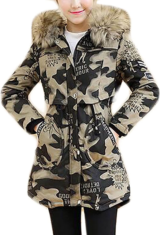 Yayun Yayu Women's Winter Thicken Warm Camo Overcoat Faux Fur Hoodie Parka Coat