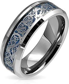 Señores /& señora anillo de pareja de acero inoxidable pulido plata inlay carbon style negro