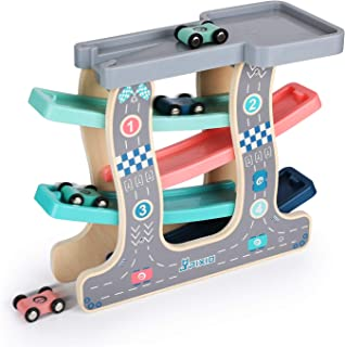 Ulmisfee Wooden Race Track Car Ramp Racer with 4 Cars Toddler Toys for 1 2 3+ Year Old Boy Girl Gifts