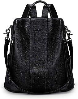 S-ZONE Damen Rucksack Wasserdicht Weiches Echtleder Anti Diebstahl Mode Schultasche Handtasche Casual Daypack Schulranzen Schultaschen Schulrucksäcke für Arbeit Schule Reise