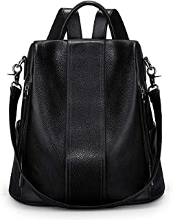 S-ZONE Soft Leather Backpack for Women Anti-theft Rucksack Ladies Waterproof Shoulder Bag
