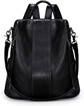 S-ZONE Soft Leather Backpack for Women Anti-theft Rucksack Ladies Shoulder Bag