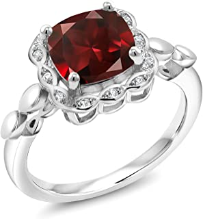 Gem Stone King Red Garnet and White Created Sapphire 925 Sterling Silver Women's Engagement Ring 2.84 Ct Cushion Cut Available in size 5, 6, 7, 8,