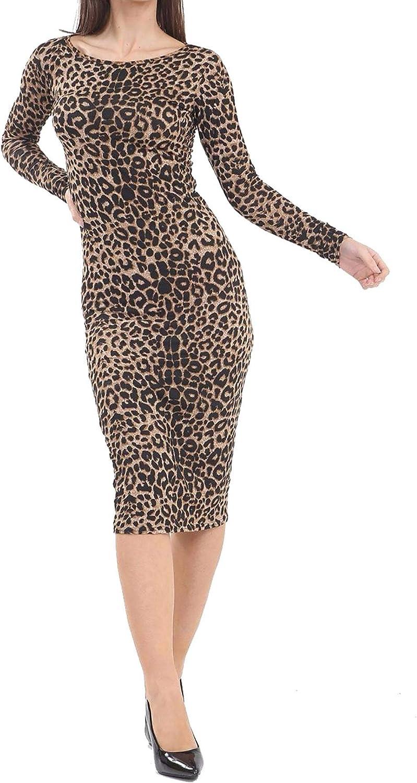 Rimi Hanger Womens Leopard Print Long Sleeve Midi Dress Ladies Round Neck Party Bodycon Dress Small/XXX Large