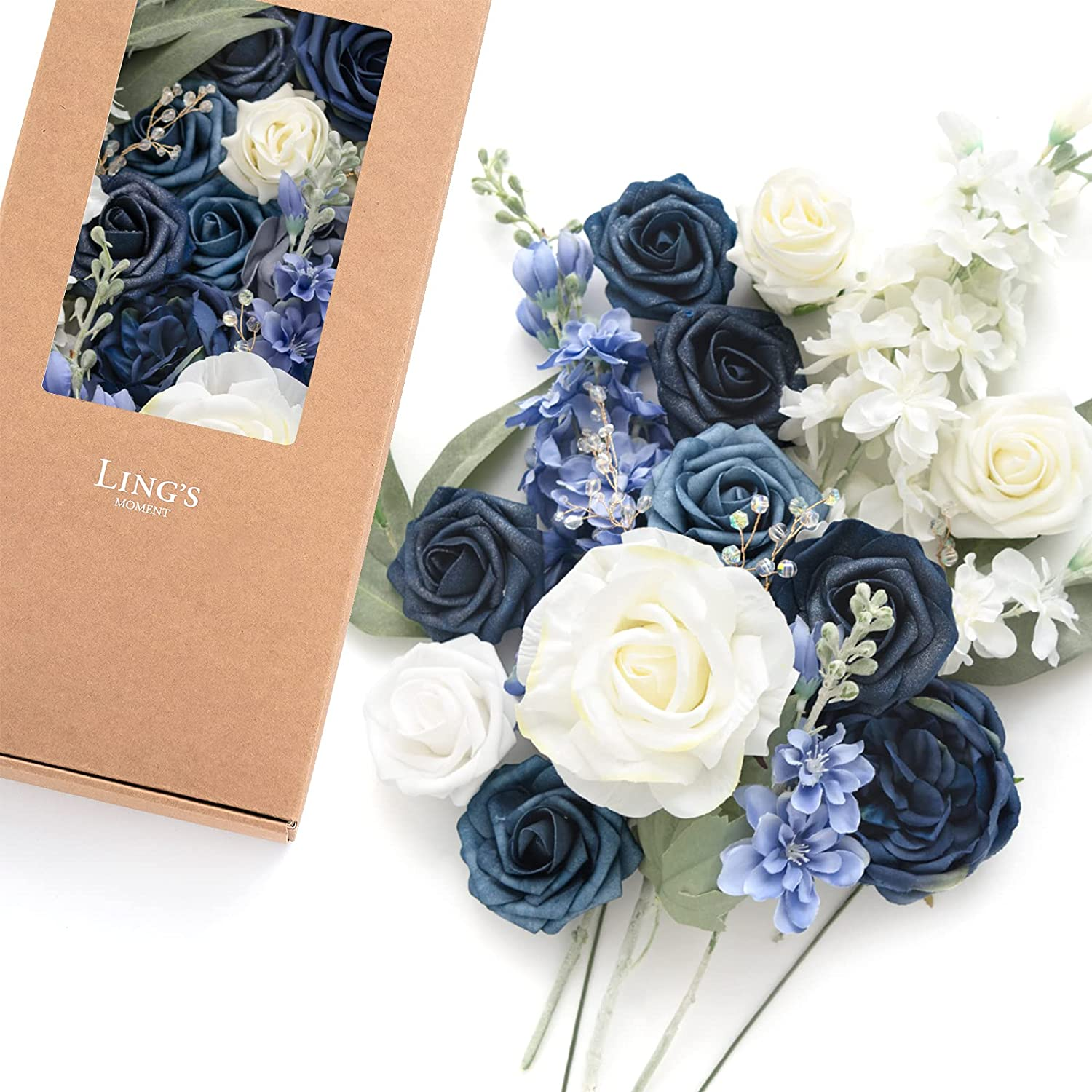 Ling's moment Navy Outlet SALE Blue White for Artificial Combo DIY Flowers Max 59% OFF