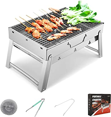 Sunkorto 19x11.5x9.5 Inch Folded Charcoal BBQ Grill Set, Stainless Steel Portable Folding Charcoal Barbecue Grill, Barbecue T