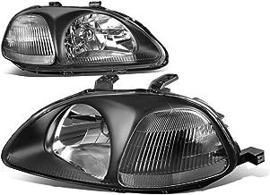 For Honda Civic EJ EM EK Pair of Black Housing Clear Corner Headlight W/Corner Lamps