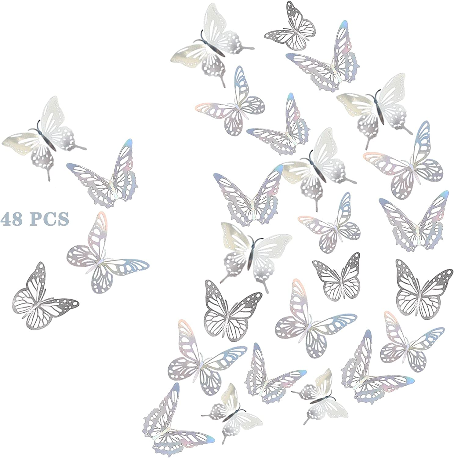 48 Butterfly Stickers Selling rankings Metal Max 51% OFF Texture 3D Decor Wall DIY