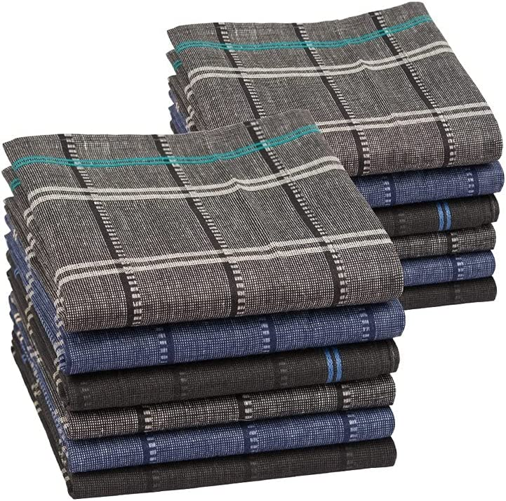 TWDYC 12PCs Men's Handkerchief Cotton Square Woven Mixed Tri-Color Classic Vintage Business Checked Dark Multicolor Gentleman Pocket (Color : A)