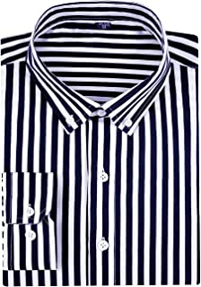 SPAREE Men's Long Sleeve Vertical Striped Slim Fit Dress Shirts