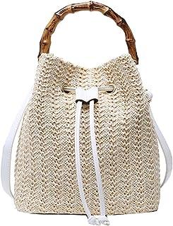 MEGAUK Damen Sommer Strand Beuteltasche Bucket Bag Umhängetasche Handtasche Schultertasche Shopper Henkeltasche mit Kordelzug