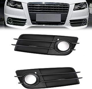 Pare-Chocs Avant Lampe De Brouillard Cadre Une Paire De Voiture Pare-Chocs Avant Facelift Fog Lampe Couverture Racing Grille Grill Fit for Audi A4 B8 S Ligne S4 2013-2015 Noir Brillant