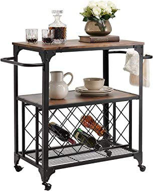 "O&K FURNITURE Industrial Rolling Bar Serving Cart with Wine Rack, 30""W x 18.1"" D Kitchen Carts with Wheels and Handle, Rustic Brown"