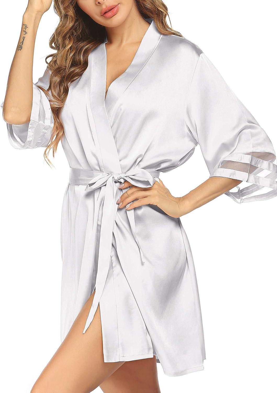 ELOVER Women's Satin Kimono Robes Wedding Silk Robes Pure Color ...