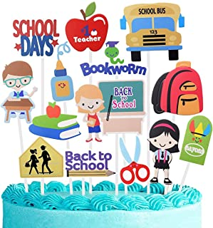 Back to School Cupcake Topper 28Pcs, School Welcome Toppers Lovely Topper School Party Decorations Cookies Toppers Party S...