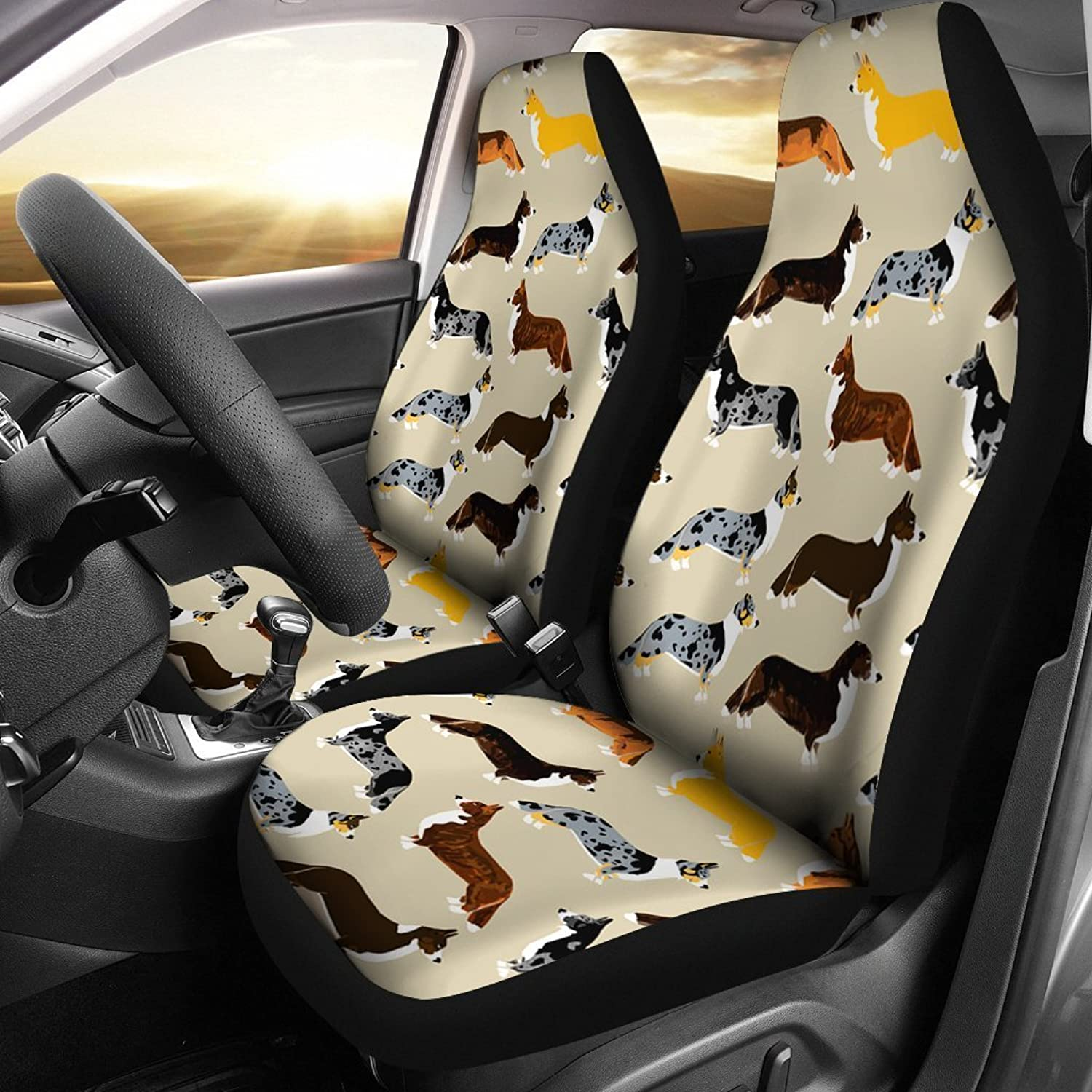 Deruj Cardigan Welsh Corgi Pattern Print Car Seat Covers