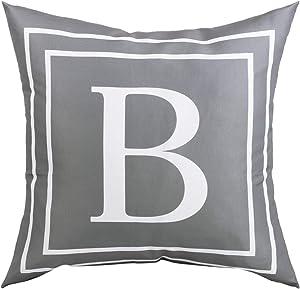 Fascidorm Gray Pillow Cover English Alphabet B Throw Pillow Case Modern Cushion Cover Square Pillowcase Decoration for Sofa Bed Chair Car 16 x 16 Inch