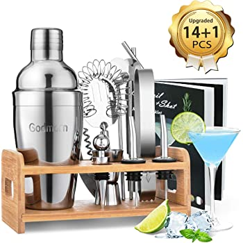 Godmorn Cocktail Set, Cocktail Making Set 15 pcs Cocktail Shaker Set 550ml Stainless Steel Bar Tool Set Bartender Kit with Wooden Display Stand Cocktail Gift Set with Cocktail Book