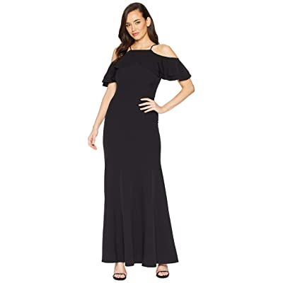 Laundry by Shelli Segal Crepe Cutaway Gown (Black) Women