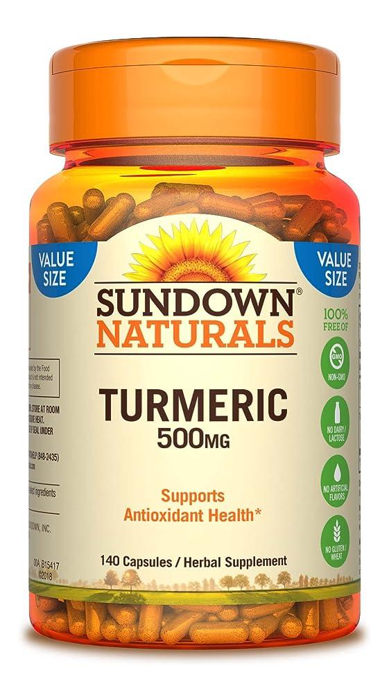 Sundown Naturals Turmeric 500mg Herbal Supplements, 140 Count