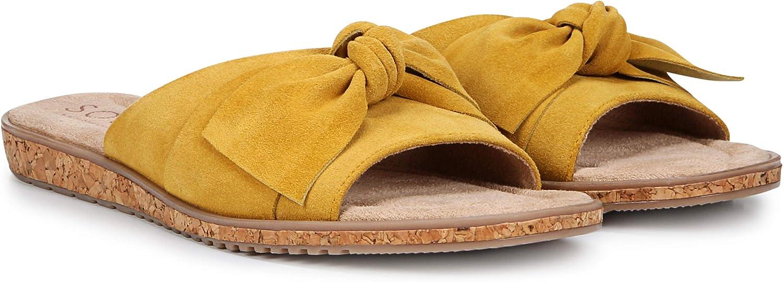 SOUL Naturalizer Women's Wildflower Slide Sandal, Mustard Leather, 9.5