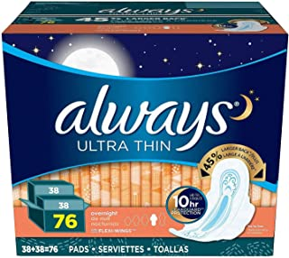 Always Ultra Thin Overnight Winged Pads - 76 ct.