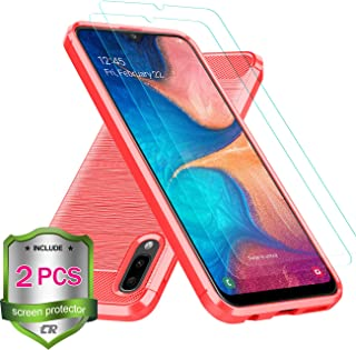 CaseRoo Samsung Galaxy A10E Case w/Screen Protector[2-Pack],Samsung A10E Phone Case,Carbon Fiber Brushed Soft Slim Anti-Scratch Anti-Slip Rubber Bumper Protective Case Cover Skin for Galaxy A10e,Red