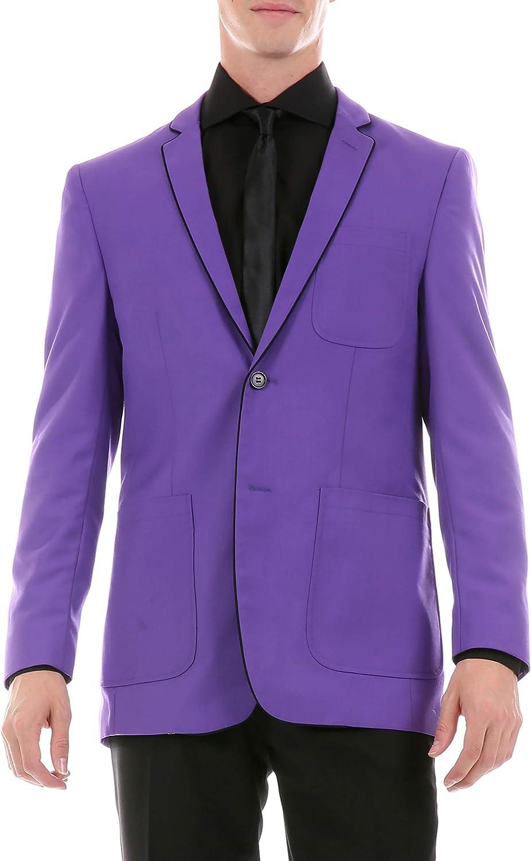 Ferrecci Men's Porter Tuxedo Trim Slim Fit Blazer Jacket with Patch Pockets (Purple, 40 Regular)
