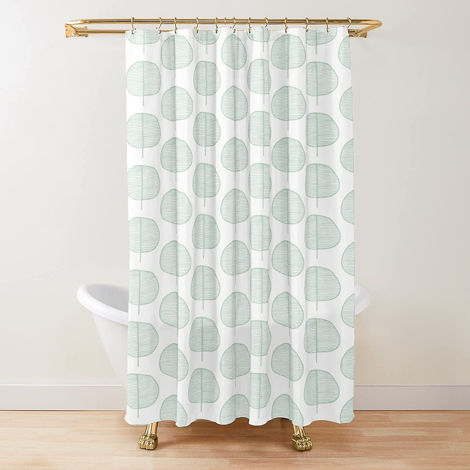 Ranking integrated 1st place Mint Leaf Columbus Mall Scandi Pattern Fabric Shower Curtains Customi Printed