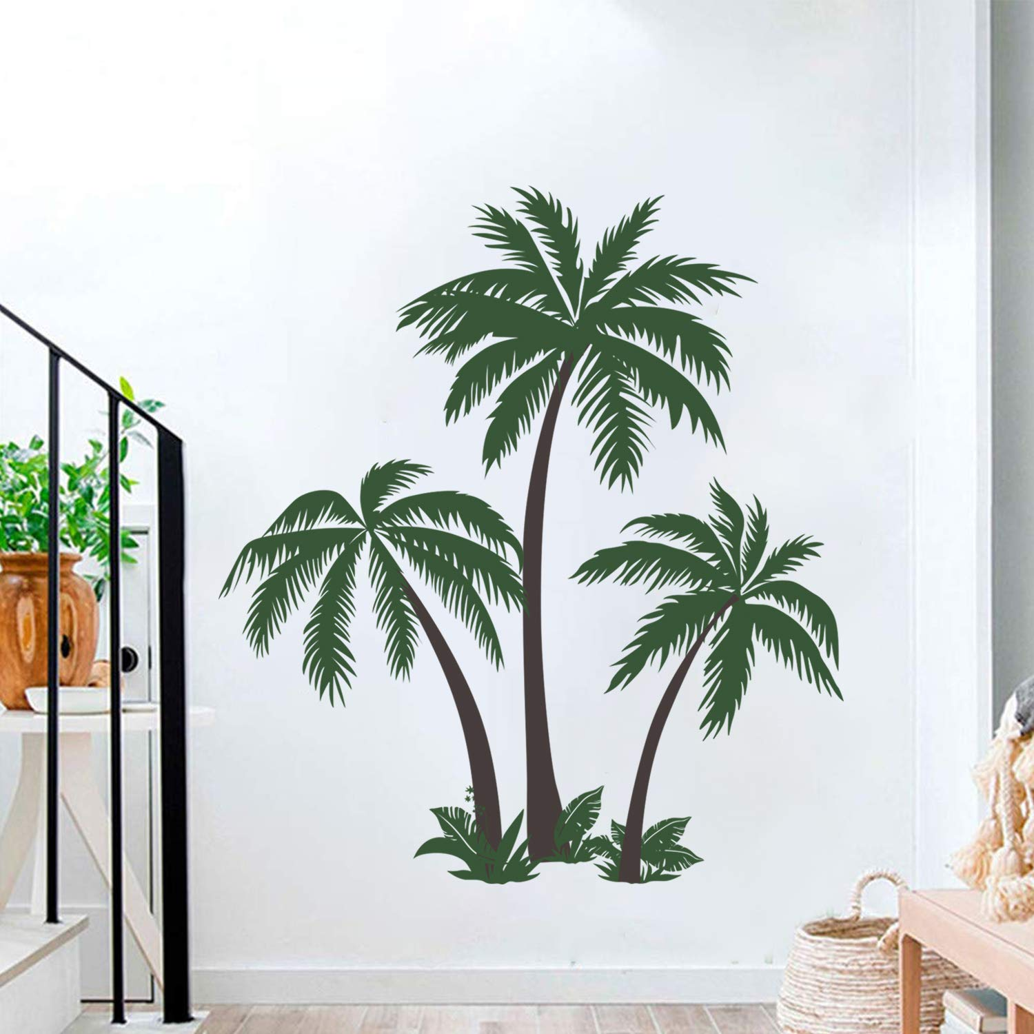 Decalmile Large Palm Tree Wall Decals Tropical Tree Wall Stickers Bedroom Living Room Tv Wall Art Home Decor H 49 Inch Kitchen Dining
