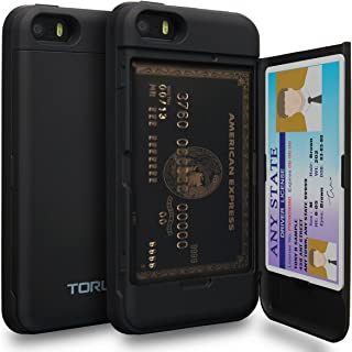 TORU CX PRO iPhone SE Wallet Case with Hidden Credit Card Holder ID Slot Hard Cover & Mirror for Apple iPhone SE/iPhone 5S/iPhone 5 - Matte Black