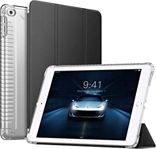 ATiC iPad 9.7(2018/2017)/Air/Air2タブレット用 ケース カバー 新型 TPU製 四角衝撃防止 三つ折り オートスリープ スタンド機能付き 軽量 薄型 全面保護ケース Black