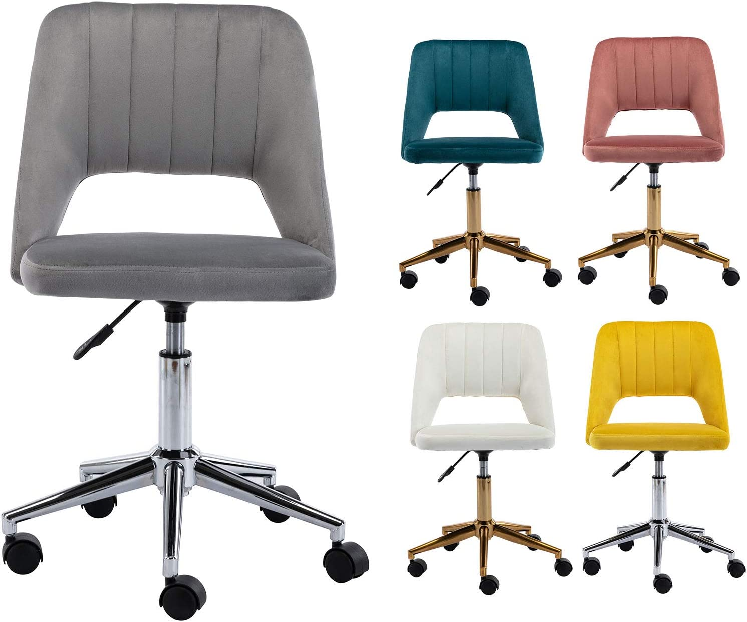 Guyou Cash special price Upholstered Elegant Home Office Chair Back Hollow Out Armles Cute