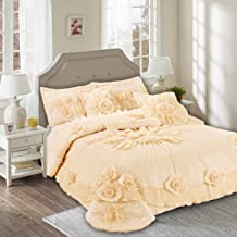 Tache Home Fashion 002-3-CK Floral Peach Elegant Ruffled Satin Tulle Warm Victorian Wedding Comforter Bedding Set, Califor...