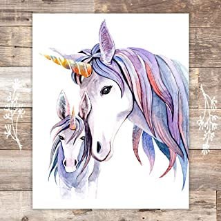 Unicorn Mother and Daughter Wall Decor For Girls Room - Art Print - Unframed - 8x10